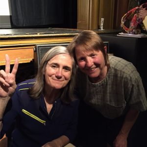 Doris believes in a democracy where all voices are heard (pictured here with Amy Goodman at the Lincoln Theater)